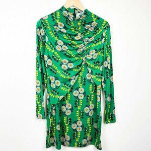 Zara Floral Green ruched Slinky Stretch Mock Dress